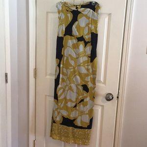 Flower Print Sleeveless Maxi Dress with Tie Neck